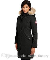 Wholesale Women Down Coats Canada - Winter Outdoors Canada Medium Thicker Warmer Fashion White Goose Down Down Hooded Raccoon Women's Outerwear & Coats