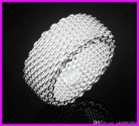 Wholesale Jewelry Fashion United State - B42 2017 New Europe and the United States trend of fashion jewelry ring plated 925 sterling silver mesh ring for men women