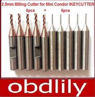 Wholesale Wholesale Milling Machines - 10pcs lot Original 2.0mm Milling Cutter + 1.0 Probe for Mini Condor IKEYCUTTER CONDOR XC-007 Master Series Key Cutting Machine