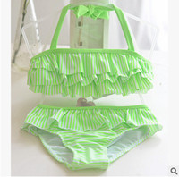 Wholesale Green Stripe Bikini - Children bikini swimsuits girls cute green stripe tiered falbala split swimwear 2pcs sets Fashion New kids spa beach swimwear T3419