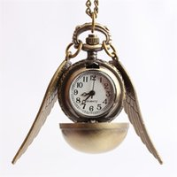 Wholesale Movies Clock - Movie Ravenclaw School Snitch Wing Watch Pendant Necklace Steampunk Quidditch Wings Clock bronze Cosplay Party Gift