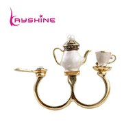 Wholesale Unique Design Cup - Gold Color Rings For Women Unique Anel Tools Coffee Kettle Cup Decoration Rings Shining Rhinestone Brand Design Rings
