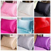 Wholesale Satin Pillowcases Wholesale - High Quality Multi Colors Silk Pillow Cases Double Face Envelope Silk Pillowcase Charmeuse Silk Satin Pillow Cover CCA5624 20pcs