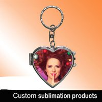 Wholesale Compact Mirror Heart Shaped - Sublimation heart shape metal keychains can be used as compact makeup mirror blank products print picture customized design advertising gift