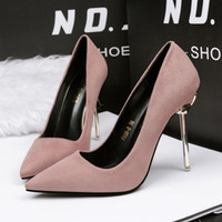 Wholesale Khaki Green Ladies Party Shoes - Fashion Lady Dress Shoes Women Pumps Heels PU Leather Pointed Toe Thin High Heels Festival Party Wedding Shoes Slim Formal Pumps GWS084
