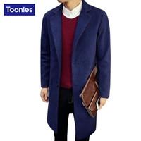 Wholesale Woolen Suits For Men - Wholesale- Cotton Cashmere Overcoat for Men Brand-clothing Long Straight Winter Coats Male Woolen M-5XL Wool & Blends Man Warm Jacket Suit