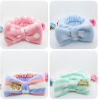 accesorios cpap al por mayor-venta caliente franela rosa onda raya big bowknot snood mezcla colores chica banda para el cabello accesorios para el cabello envío gratis