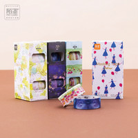 Wholesale japanese notebook wholesale - Wholesale- 2016 4 rolls pack Flower Floral Masking Tape Japanese Washi Tape DIY Decorative Adhesive Paper Tape for Notebook Travel's journ