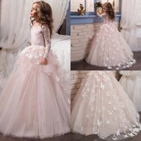 Barato Borboleta 3d Rosa-2017 Pink Flower Girls Dresses Long Sleeves 3D Butterfly Decals Primeira Comunhão Vestidos Princesa Birthday Party Dresses