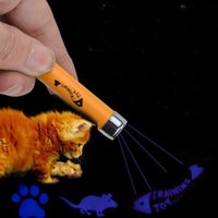 Wholesale Pet Animations - Creative and Funny Pet Cat Toys LED Laser Pointer Light Pen With Bright Animation Mouse Fish Paw Pattern Key Ring ZA1855