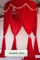 Wholesale Stands For Backdrops - 10ft height *20ft long New Desion Gold Velvet Wedding drapes with top swags Free shipping Red round stand curtains backdrops for Festive