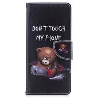 osos de samsung llevan al por mayor-Para Samsung Note 8 S8 Plus Funda Piel Pintada Fundas Cartera Flip Cartera Stents funda Diseño Bear Teléfono Bolsas