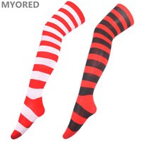 Wholesale Girls Sexy Thigh Highs - christmas long stocking gift long socks sexy women girls over the knee thigh high cotton red white striped long sock halloween 40pairs DHL