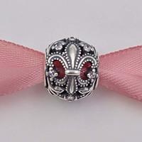bijoux ajourés achat en gros de-Véritable 925 Sterling Argent Perles Fleur De Lis Ajouré Charmes Fit Pandora ALE Style Bracelet Collier France Bijoux