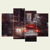 Wholesale Hd Car Pictures - (No frame) Car series HD Canvas print 4 pcs Wall Art Oil Painting Textured Abstract Pictures Decor Living Room Decoration