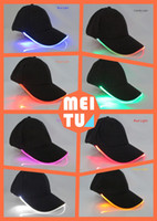 Wholesale Light Up Hats Wholesale - 2017 New Fashion 8 Colors LED Light Up Baseball Caps Luminescent Baseball Hats Sun Hats Optical Fiber LED Lights Caps Fast Delivery