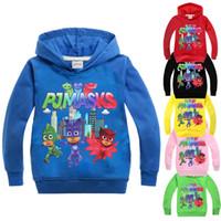 Wholesale Blue Kids Coat - Kids Clothing Children Spring Clothing PJ Long Sleeve MASKS T-shirts Boys Girls Mask Hoodies Sweatshirts Cotton Coats