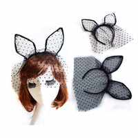 Wholesale Dotted Lace Veil - Sexy Black Dot Cat Ears Hair Bands for Women Lace Gauze Veil Hair Mask Hairband Girls Headdress Night Club Hair Band Accessories