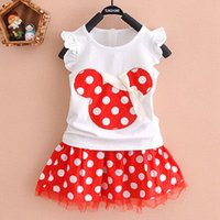 Wholesale Kids Birthday Party Dresses Boy - Wholesale- Minnie Mouse Princess Birthday Party Outfit Girls Dresses Red Dot Kids Clothing girls dress girls clothing sets