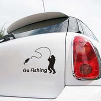 ingrosso andato a pescare-14.5cm * 10cm Gli uomini vanno a pesca auto adesivo riflettente car styling decalcomania in vinile per auto decorazione acessori nero