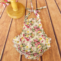 Wholesale Baby Clothes Wholesale Korea - Everweekend Baby Girls Floral Ruffles Rompers Candy Color Vintage Korea Summer Clothing Western Fashion Lovely Toddler Rompers