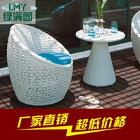 Wholesale The balcony cane three piece leisure chair sitting room tea table combination outdoor furniture garden outdoor covered five times
