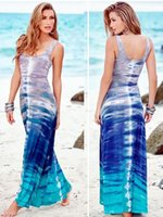 Donna Spray Art Graffiti sbiadito Stampa Scoop Neck manica senza maniche leggere Maxi Long Dresse Beach Tank Dresses