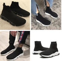 Wholesale Cheap Good Quality Boots - Good Quality Red Yellow Speed Trainer Casual Shoe Man Woman Sock Boots With Box Stretch-Knit Casual Boots Race Runner Cheap Sneaker High Top