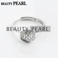Bulk of 3 Pieces Ring Pearl Configurações Zircon 925 Sterling Silver para 8-9mm Round Pearls and Cabochons
