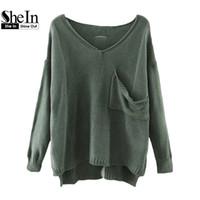 Wholesale Drop Hem - Wholesale-SheIn Casual Pullovers For Women Autumn Ladies V Neck Drop Shoulder Long Sleeve Dip Hem Loose Sweater With Pocket