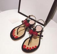 Wholesale Flip Flops Clips - 2017 High-quality Fashion New Summer Clip Toe Rome Sandals Flat Heel Beach Sandals Women's Flip Flops Brand Shoes Cherry shoes