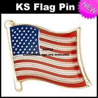 Wholesale pins flags - USA Flag Badge Flag Pin 10pcs a lot Free Shipping
