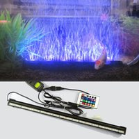 Wholesale Dc Aquarium Air Pump - LED Remote Underwater Submersible Aquarium LED Light Air Pump Bubble Light Strip Bar Flood Light Strip & Airstone for Fish Tank