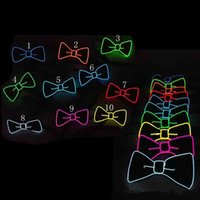 Cool Bow Tie Bowling Glowing Neck Tie DJ Bar Club Evening Party Halloween Festival Bow Tie EL Wire Light Up