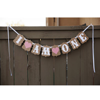 Wholesale baby girl bunting resale online - I AM ONE Bunting Garland Banner set Baby Girl First Birthday Party Decoration Photo Booth Props Favors Supplies