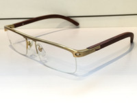 Wholesale Square Plastic Case - 4581369 Medusa Glasses Prescription Eyewear Vintage Frame Wooden Men Brand Designer Eyeglasses With Original Case Retro Design Gold Plated