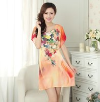 Wholesale Hot Classy Dresses - Wholesale- Hot Sale Orange Chinese Female Home Dress Cotton Soft Mini Sleepshirt Nightgown Classy Printed Flower Sleepwear One Size A14