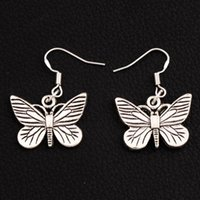 Wholesale butterfly dangle - 925 Silver Fish Hook Chiricahua White Neophasia Butterfly Earrings 36x22.5mm 30Pairs lot Antique Silver Chandelier E1127