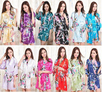 Wholesale Gold Short Sleeve Woman Dress - Hot Sale Silk Satin Wedding Bride Bridesmaid Robe Short Kimono Night Robe Floral Bathrobe Peignoir Femme Fashion Dressing Gown For Women