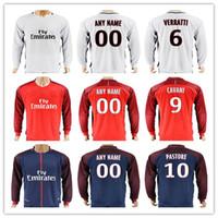 Wholesale ben shirt - 17 18 Long Sleeve Football Jersey Shirt VERRATTI 9 CAVANI 10 PASTORE DI MARIA BEN ARFA T.SILVA 32 DANI ALVES Soccer Jerseys
