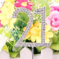 Atacado- 2016 Classic Crystal Rhinestone Cake Topper Number Idade 60th 50 21 Birthday Anniversary Cross Decoration