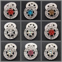 Wholesale Ancient Gold Beads - Decorative Flower Snap ginger snaps Buttons Ancient Silver Plating Rhinestone Buttons fit 18mm 20mm DIY Snap Bracelet For Women