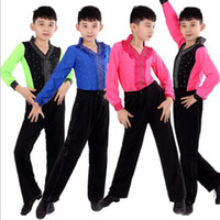 Wholesale Latin Costumes Children - Children Boys Professional Stage Performance Dance Suits Costumes Black White Dance Outfit Ballroom Latin Waltz Tango Skirt Pants+Tops