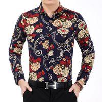 Wholesale Men Office Shirts - Wholesale- Men's Flower Shirt 2016 Autumn Fashion Print Long Sleeve Shirts Men High Quality Luxury Mens Casual Shirt Work Office Shirts 7XL