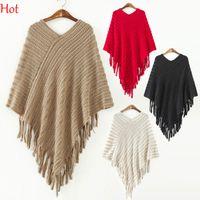 Wholesale Knitting Beautiful Sweaters - Beautiful Fashion Spring Sweater Women Tassels Shawl Wrap V Neck Irregular Cape Party Poncho Sleeveless Irregular Sweater Colors SV010758