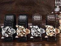 Wholesale Leopard Head Belt - Leopard head crocodile pattern leather belt