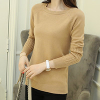 Wholesale Wool Coats For Women Korean - Wholesale-Korean New 2016 Autumn Knitting Sweaters And Pullovers For Women Elastic Solid Warm Knitted Coat Casual Female Wool Open Stitch