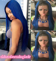 Wholesale Light Brown Wigs Sale - 1B blue Dark Root straight Ombre Human hair Wigs ombre blue Lace Wig on sale