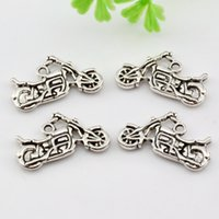Wholesale Wholesale Motorcycle Pendants - Hot ! 150pcs Antique silver Zinc Alloy Duplex Motorcycle Charm Pendants DIY Jewelry 24x14mm A-007