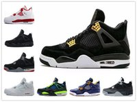[Avec Boîte] 2017 Cheap Sale Air Retro 4 IV Basketball Shoes Sports Sneakers Homme Retros 4s BLACK MOTORSPORT JEU ROYAL BLUE chaussures